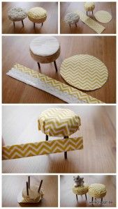 DIY mini stools for dollhouse - good illustrations