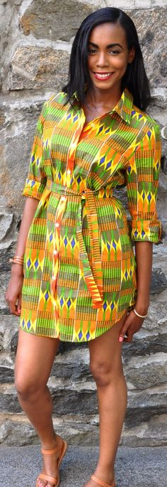 CHENBURKETTNY on Etsy- Kente Shirt Dress