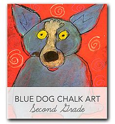Video and lesson plan that shows kids how to draw and color a Blue Dog in the style of George Rodriguez.