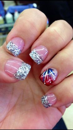 4th Of July Nails 18 Firework Nails, Fireworks, 4th Of July Nails, July 4th Nails Designs, 4th Of July Makeup, Patriotic Nails, French Tip Nails, Summer French Manicure, Acrylic Nail Art