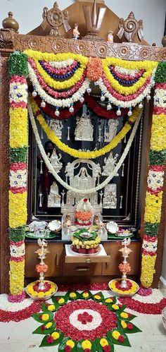 29 Ideas For Pooja Room Door Design Ideas Home Housewarming Decorations, Diwali Decorations, Festival Decorations, Flower Decorations, Temple Design For Home, Silver Pooja Items, Mandir Design, Pooja Mandir, Pooja Room Door Design