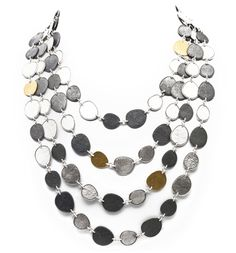 """Gurhan  - Contour Statement Necklace  Mixed metals are a big 2012 jewelry trend and add versatility to statement necklaces. This mixed metal """"Contour"""" statement necklace by GURHAN is made of sterling silver, blackened sterling silver and 24K gold."""