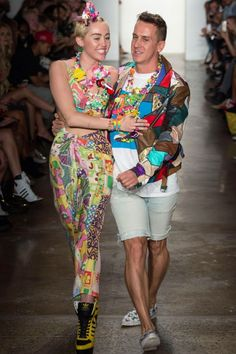 Miley Cyrus and designer Jeremy Scott Take To The Catwalk During New York Fashion Week, 2014