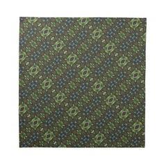 Green And Brown Print: Cloth Napkins