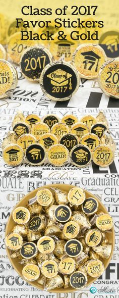Add these Black and Gold Class of 2017 Graduation Party Favor Stickers to a Hershey's Kiss for a simple and easy party favor or table decoration. Each package includes 324 self-adhesive stickers for y