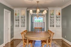 Charmant Traditional Dining Room Hardwood Dining Table Hardwood Dining Chairs Medium  Toned Hardwood Floors White Built In