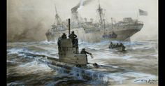 WWI The Dawn of the Submarine: The sinking of the Linda Blanche, painting by Willy Stower. Another of U-21's victories. It was now a dangerous time to be on the waves.