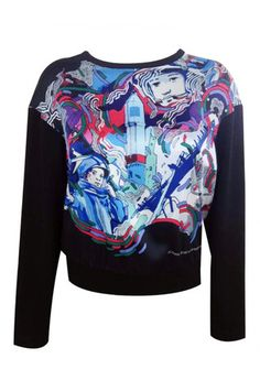 Sweatshirt with an author 'space' print. The loose-fit makes it a comfortable off-duty choice. Pair it with boyfriend jeans and sandals at the weekend. Skirt And Sneakers, Off Duty, Street Chic, Boyfriend Jeans, How To Make, How To Wear, Graphic Sweatshirt, Author, Space