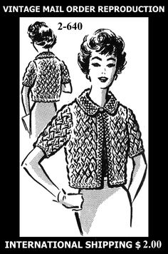 Pattern Peddler: 2-640 Vintage 1950's GRIT SEXY BULKY JACKET / SWEATER / COVER-UP Knitting Knit Knitted Pattern Yarn Mail Order REPRODUCTION