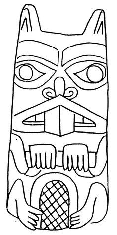 Coloring Beaver totem - Coloring pages
