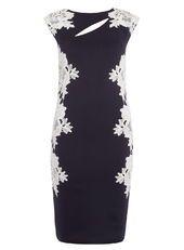 Jolie Moi Navy Lace Panelled Dress