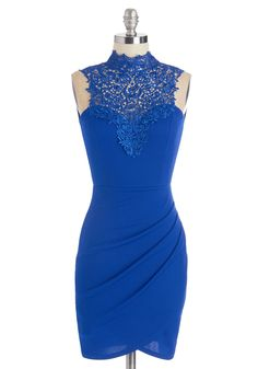 Dashing on the Dance Floor Dress - Blue, Solid, Lace, Girls Night Out, Bodycon / Bandage, Sleeveless, Short, Knit, Crochet