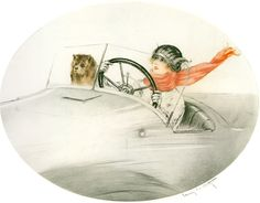 Louis Icart - Motorcar(1923) @@@.....https://es.pinterest.com/peggyaltick/art-of-transportation/
