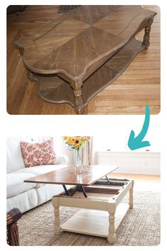 Makeover an ugly laminate coffee table into something beautiful, modern and functional with this straightforward tutorial! Diy Furniture Flip, Thrift Store Furniture, Furniture Makeover, Coffee Table Makeover, Diy Coffee Table, Butterfly House, Small Storage, House Projects, Dining Rooms
