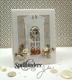 Card by Julia Stainton  (060115)  designer's site:  http://juliastainton.com/2014/09/17/doorways/  (091714)   [Spellbinders  Die-D-lite Edwardian Door, In'spire Silhouette, Celebrations Pierced Rectangles]