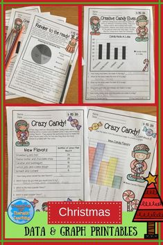 Christmas themed data and graph printable worksheets.  Children can practise reading graphs, answering questions based on graphs and drawing graphs.  #graphwork #Christmastheme #Christmas #math #treasuresforthematicteaching #teacherspayteachers