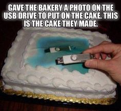 Hilarious! // Gave the baker a photo on the USB drive to put on the cake.  This is the cake they made.
