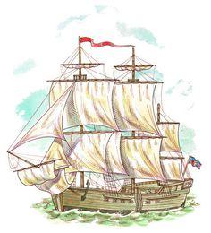 OLD SAILING SHIP - ILLUSTRATION.