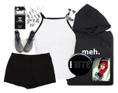 """""""I BITE"""" by fxck-the-price ❤ liked on Polyvore featuring ThinkGeek, Miss Selfridge, L'Agence and Dr. Martens"""
