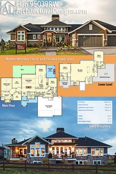 Architectural Designs House Plan 95039RW has a striking exterior with great outdoor space - covered and open - in back. The home gives you over 2,600 square feet on the main level and an optional finished lower level. Ready when you are. Where do YOU want to build?