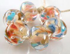 Skinny Dipping Encased Handmade Lampwork Glass Round Beads 10mm Set of 6 SRA #Lampwork