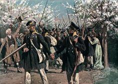 """AUSZUG DER LANDWEHR 1813 Befreiungskriege 1813–15. """"Auszug der Landwehr 1813"""". Farbdruck, um 1900, nach Aquarell von Röchling (1855–1920)."""