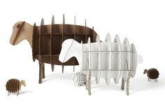 Cardboard sheep bookcases by The Karton Group. Perfect for a little kid's bedroom with a farm or 'counting sheep' theme. Easy to take apart and store or recycle if they get too beat up.