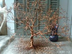 Wire Tree Sculpture - Handmade - Wire Metal Art - Hand-Shaped Leaves