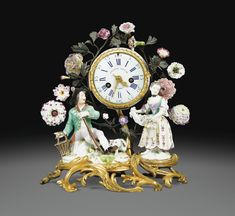 A LOUIS XV GILT-BRONZE AND GREEN-LACQUERD TOLE CLOCK WITH TWO MEISSEN PORCELAIN FIGURES AND VINCENNES PORCELAIN FLOWERS, THE DIAL SIGNED ETIENNE LENOIR A PARIS, CIRCA 1760