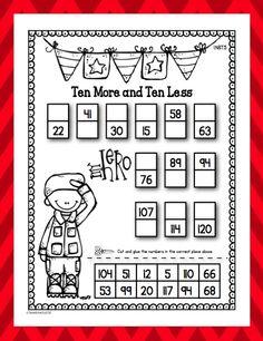 Freebie - First Grade - Veterans Day Ten More, Ten Less