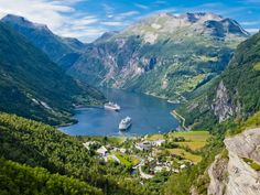 Cruise ships in Geiranger Fjord, Norway