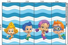 Right click and save as (site is in spanish) Bubble Guppies, Party Printables, Free Printables, Candy Bar Wrappers, Guppy, Birthday Decorations, Pikachu, Birthday Parties, Bubbles