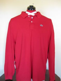 Mens Lacoste Polo Shirt Long Sleeve Red Size 9 US 3XL XXXL