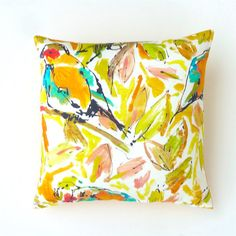 Designer French Cotton Stylised Bird Cushion Cover in by OnHighat5