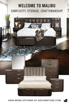 California Dreamin'. Stunning in its simplicity, the gorgeous Malibu tall bedroom collection celebrates craftsmanship at its finest. Stand back and admire everything this beautiful collection has to offer, from the tall, stately panel headboard that anchors the platform bed, to the ample storage and display opportunities. Details matter, which is why this bedroom set is designed to impress. Touch dimming featuring high-efficiency LED lighting within the headboard provides background warmth…