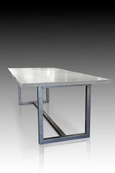 Los Angeles Rectangle Concrete Top Dining Table With Stainless Steel Base  Custom Quotes Available Upon Request