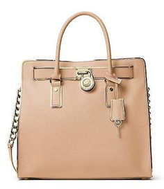 2acd6674bc7 Michael Kors Hamilton Specchio N S tote Oyster Gold Bag New