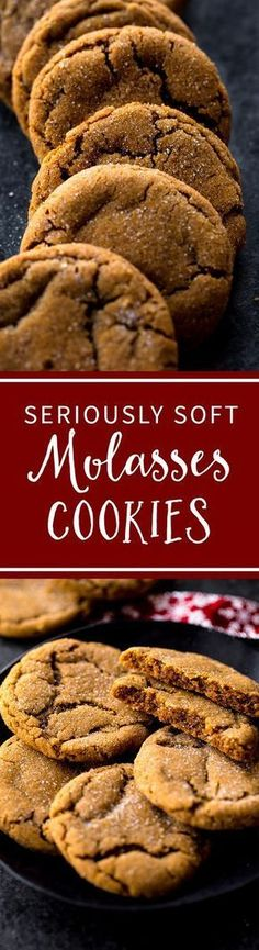 Seriously soft and chewy molasses cookies will be your favorite Christmas cookie! So much delicious flavor in one easy cookie recipe. Recipe on sallysbakingaddic. Easy Cookie Recipes, Sweet Recipes, Baking Recipes, Köstliche Desserts, Dessert Recipes, Ginger Snap Cookies, Sallys Baking Addiction, Galletas Cookies, Yummy Cookies