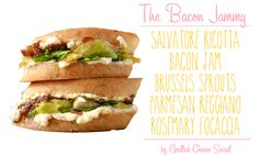 Bacon Jam, brussels sprouts, Salvatore Ricotta and rosemary focaccia by Grilled Cheese Social: The Bacon Jammy