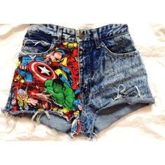 "The ""Super Chick"" Marvel High Waisted Shorts Marvel Super Hero Studs (125 BRL) ❤ liked on Polyvore featuring shorts, bottoms, pants, short, short shorts, high-waisted denim shorts, high rise shorts, long shorts and long high waisted shorts"