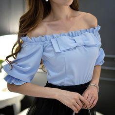 Buy dabuwawa off-shoulder bow-accent top in 2019 outfits fas Cute Fashion, Look Fashion, Hijab Fashion, Fashion Outfits, Fashion Design, Classy Outfits, Trendy Outfits, Summer Outfits, Cute Outfits