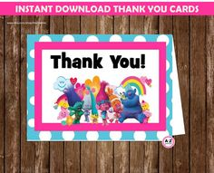 Trolls Thank you cards, 2 per page, Instant Download, Party, troll movie, sign, centerpiece, coordinating items avail, no waiting for files by AtoZparties on Etsy