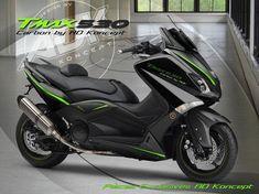 Carbone, noir et vert sont au programme de ce kit habillage signé AD Koncept Maxi Scooter, Yamaha Scooter, Yamaha Motorcycles, Cars And Motorcycles, T Max 530, Scooter Custom, Xmax, Motor Scooters, Simple Bags