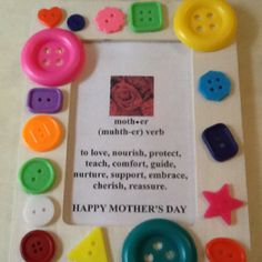 Mother's Day Craft- have students come up with their own verbs as a class