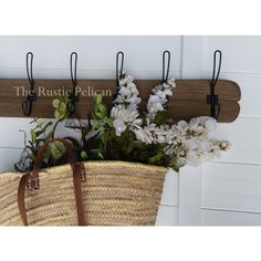 Rustic Coat Rack, Farmhouse Style Decor, Key holder, Entryway Decor,... (€64) via Polyvore featuring rusticpelican