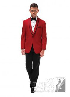 It's hard to be missed when you're wearing a red tuxedo! The 'Carmine' features a one button front with a shawl collar and is slim cut for a closer, more exacting fit. This tuxedo is a sure bet for garnering wanted attention at any prom or special event. Tuxedo Colors, Red Tuxedo, Tuxedo Suit, Red Wedding, Wedding Suits, Mens Tux, Red And White Dress, Red Shawl, Dinner Suit