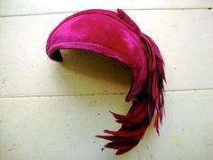 Velvet cerise half hat