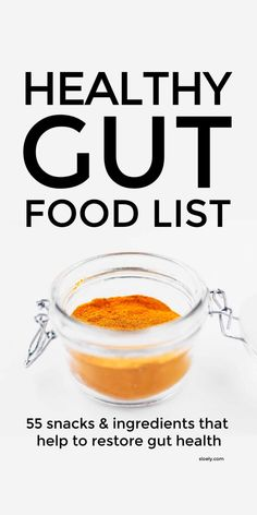 Use this healthy gut food list to find simple snacks and ingredients that restore gut health and ease inflammation, reflux, heartburn, IBS and stress and boost immunity by increasing good bacteria - probiotics and prebiotics - in the gut. #guthealing #guthealth #healthygut #goodbacteria #immunesystem #inflammation Gut Health, Health Tips, Nutrition Tips, Mental Health, Health Benefits, Wellness Tips, Health And Wellness, Healthy Recipes, Healthy Options