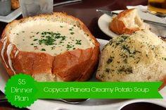 $5 Dinner Plan:  Copycat Panera Bread Creamy Potato Soup on http://www.moneysavingmadness.com