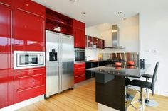 Modern Kitchen With Red Colored Kitchen Cabinets With Regard To Colored Kitchen Cabinets 5 Top Kitchen Cabinet Colors Trends 2016 Kitchen Wallpaper, Red Kitchen Cabinets, Beautiful Kitchens, Kitchen Colors, Red Kitchen, Kitchen Cabinet Colors, Modern Kitchen Design, Kitchen Renovation, Kitchen Design